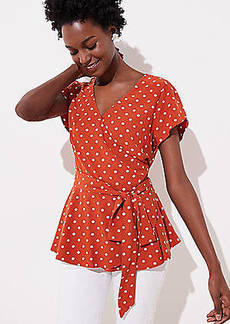 LOFT Dotted Tulip Sleeve Wrap Top