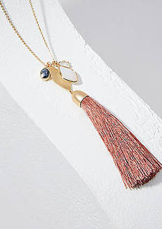 LOFT Double Layer Stone Tassel Necklace