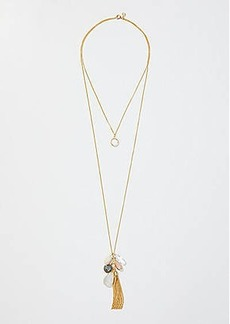 LOFT Double Layer Tassel & Stone Pendant Necklace