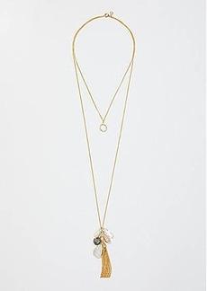 LOFT Double Layer Tassel & Stone Pendant Necklace