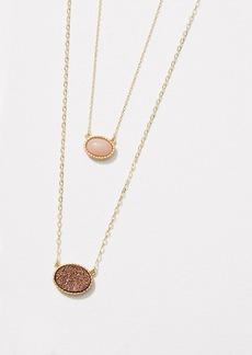 LOFT Double Layered Stone Pendant Necklace