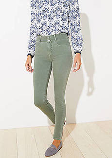 LOFT Double Shank High Rise Slim Pocket Skinny Jeans in Evergreen Haze