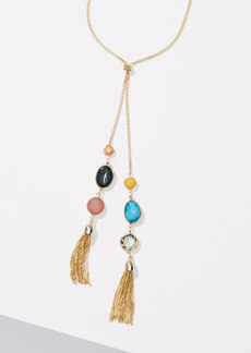 LOFT Double Stone Tassel Necklace