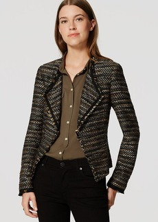 Draped Fringe Tweed Jacket