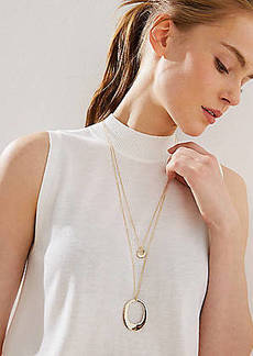LOFT Drop & Circle Pendant Necklace Set