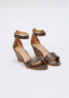 LOFT Embossed Ankle Strap Wedge Sandals