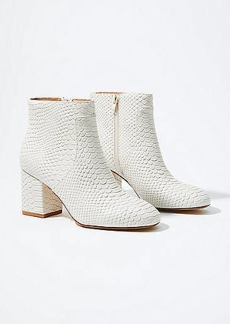 LOFT Embossed Block Heel Ankle Boots