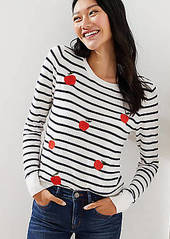 LOFT Embroidered Apple Striped Sweater