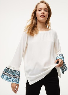 LOFT Embroidered Bell Sleeve Blouse