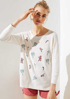 LOFT Embroidered Bouquet Sweater