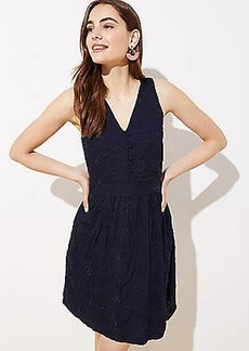 LOFT Embroidered Button Flare Dress