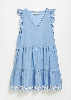 LOFT Embroidered Chambray Flutter Dress