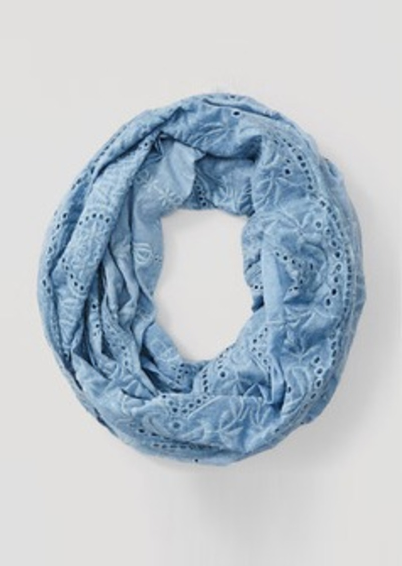 LOFT Embroidered Chambray Infinity Scarf