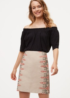 Embroidered Cotton Linen Skirt