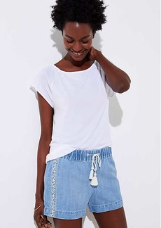 LOFT Embroidered Cotton Linen Denim Drawstring Shorts