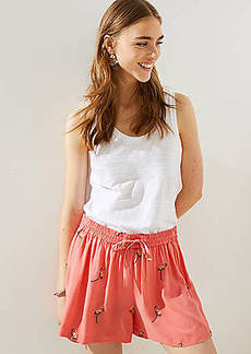 LOFT Embroidered Flamingo Fluid Drawstring Shorts