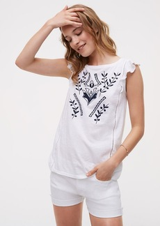 LOFT Embroidered Floral Flutter Top