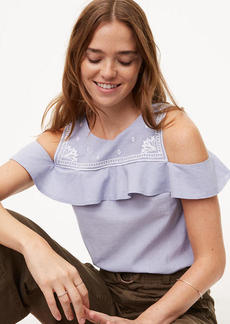 Embroidered Flounce Cold Shoulder Top