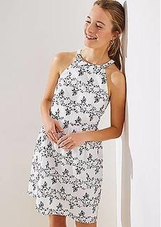 LOFT Embroidered Halter Flare Dress