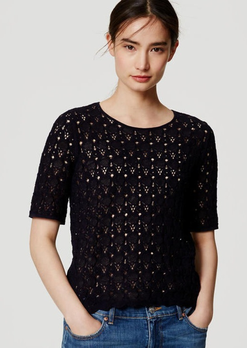 LOFT Embroidered Lace Sweater