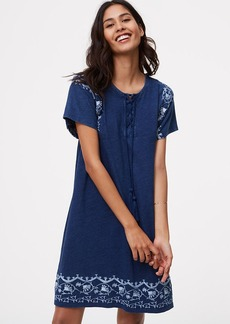 Embroidered Lace Up Swing Dress
