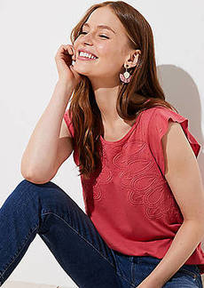 LOFT Embroidered Leaf Flutter Tee