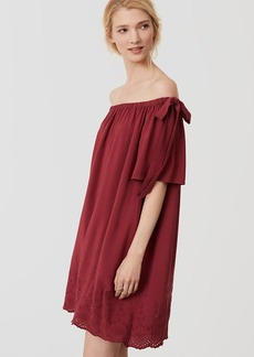 LOFT Embroidered Off The Shoulder Dress