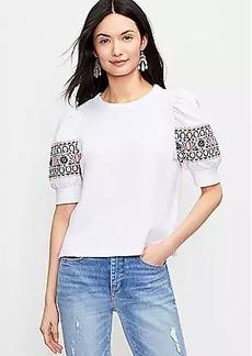 LOFT Embroidered Puff Sleeve Sweatshirt Tee