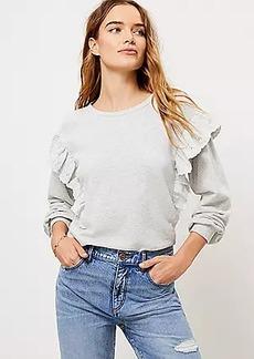 LOFT Embroidered Ruffle Sleeve Sweatshirt