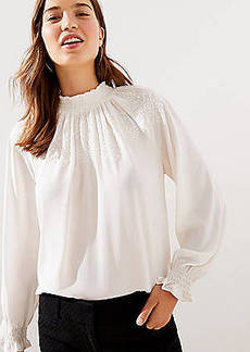 LOFT Embroidered Smocked Mock Neck Blouse