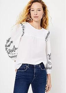 LOFT Embroidered Smocked Blouse