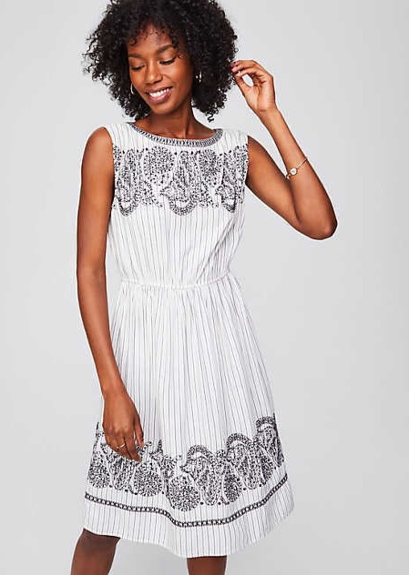 LOFT Embroidered Stripe Midi Dress