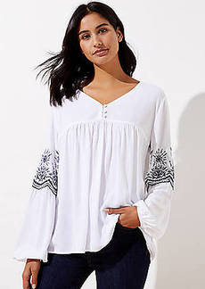 LOFT Embroidered V-Neck Blouse