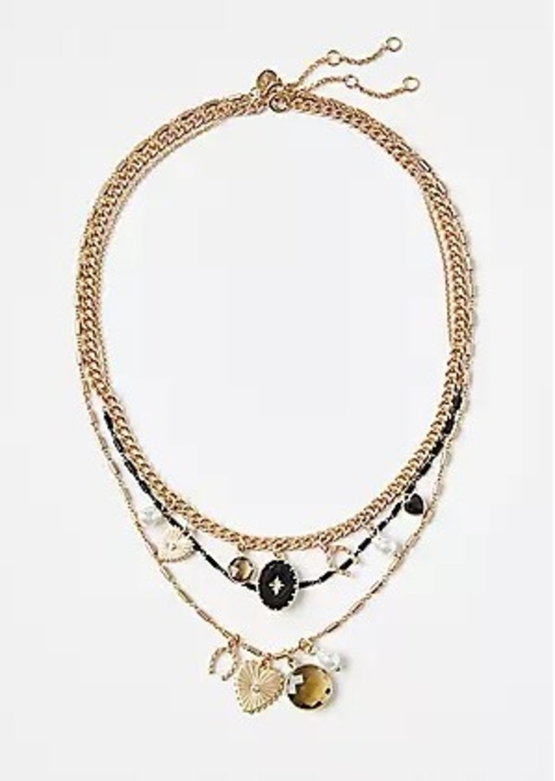 LOFT Enamel Charm Layered Necklace
