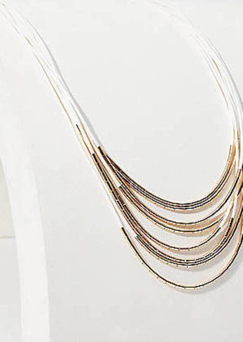 LOFT Extra Long Multistrand Tube Bead Necklace