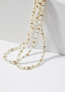 LOFT Extra Long Pearlized Beaded Necklace