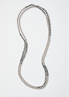 LOFT Extra Long Pearlized Stone Necklace
