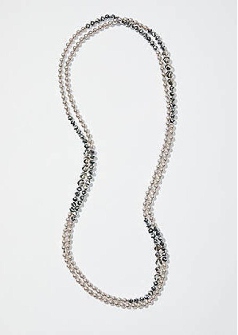 LOFT Extra Long Pearlized Stone Necklace