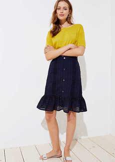LOFT Eyelet Button Front Ruffle Skirt