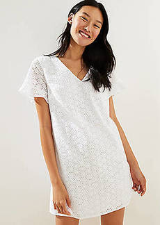 LOFT Eyelet Flutter Cuff Shift Dress