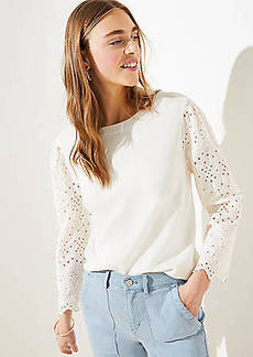 LOFT Eyelet Mixed Media Sweater