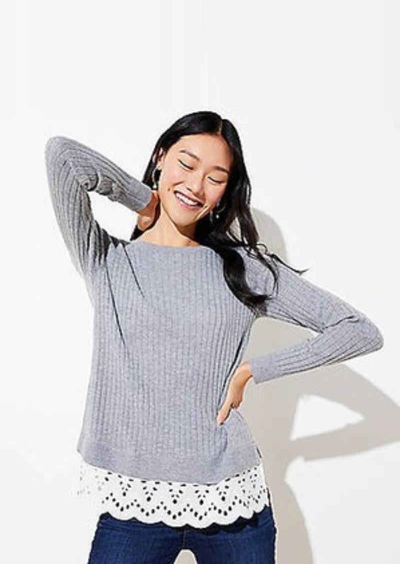 LOFT Eyelet Mixed Media Sweater