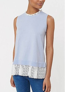 LOFT Eyelet Mixed Media Sweater Tank