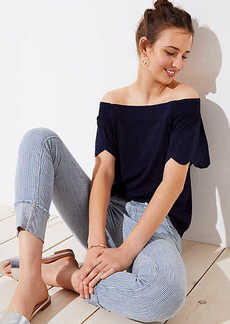 LOFT Eyelet Off The Shoulder Tee