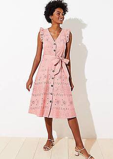 LOFT Eyelet Ruffle Pocket Midi Dress
