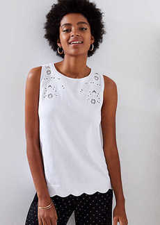 LOFT Eyelet Sleeveless Sweater