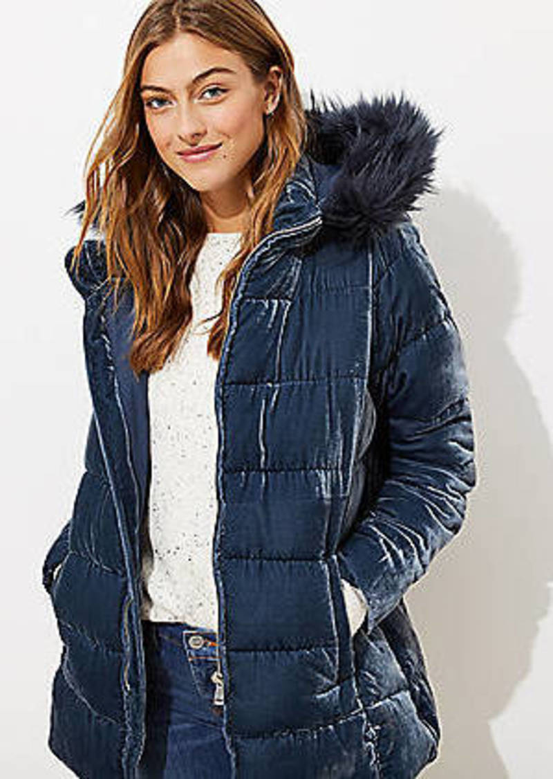LOFT Faux Fur Hood Velvet Puffer Coat
