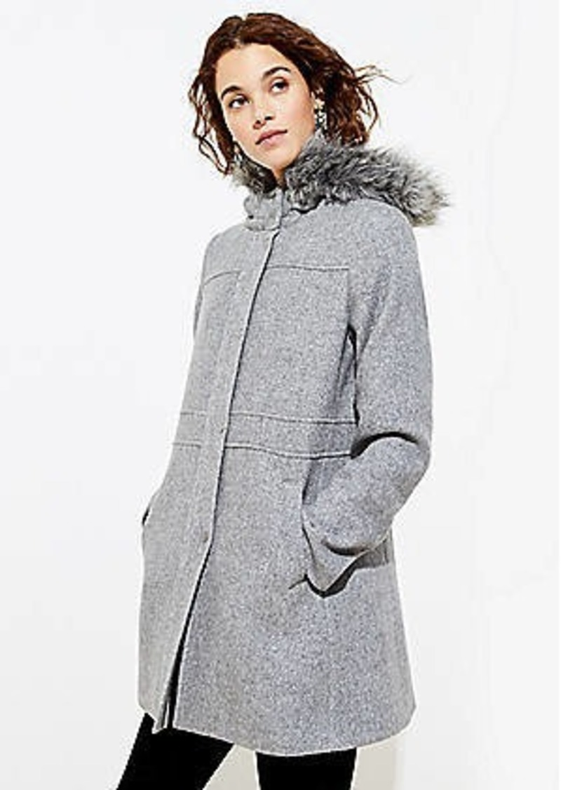 LOFT Faux Fur Hooded Coat