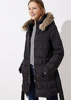 LOFT Faux Fur Trim Belted Puffer Coat