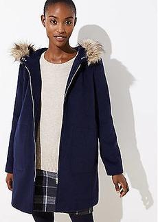 LOFT Faux Fur Trim Coat